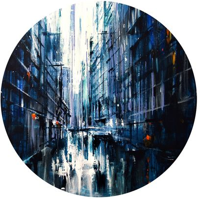 Avenue in blue- round - a Paint Artowrk by Bianca PRETTAU