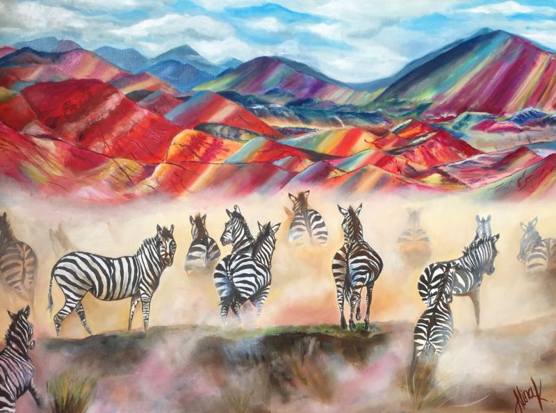 The Zebras in Peru. 2018 - a Paint by Alina Kaiumova