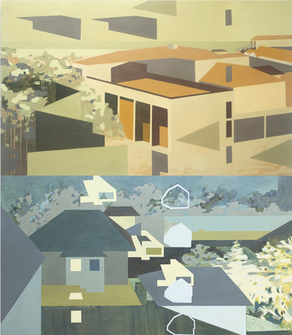 Salvador Neighborhood - Midday and Nocturne (diptych) - A Paint Artwork by Fernanda Luz Avendaño