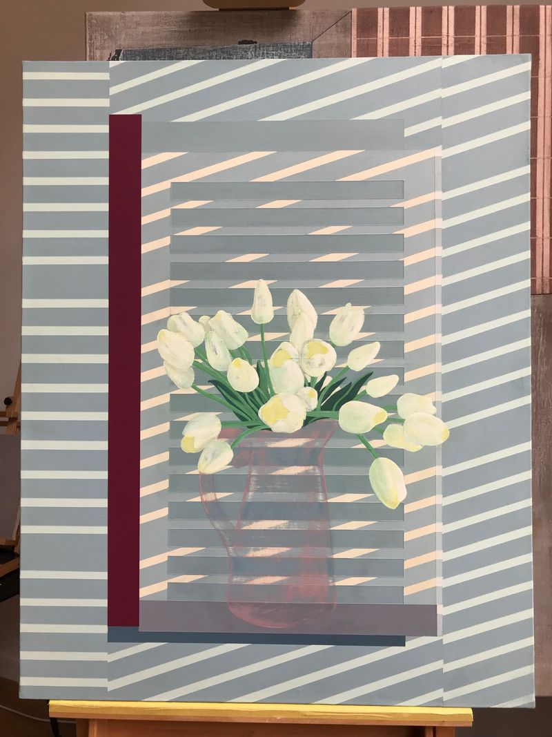Flowers against the Window Shutter - a Paint by Jasper Galloway