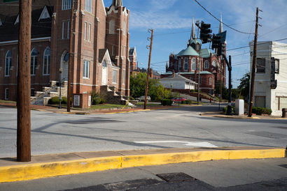 Churches and Intersection, Macon, GA - A Photographic Art Artwork by Peter Stitt