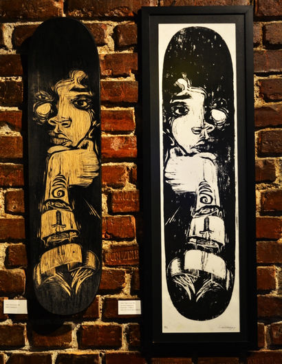 Xylography performed on a skateboard deck. With a series of 10 prints on paper - A Paint Artwork by Leo Costanzo