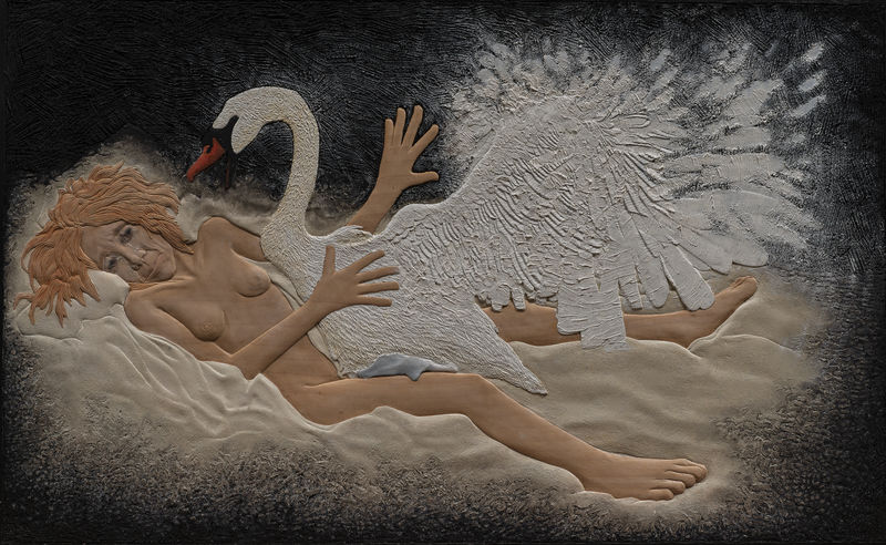 Leda and the Swan - a Paint by Rene van der Klooster