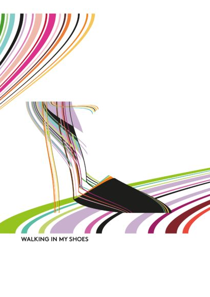 WALKING IN MY SHOES - a Digital Graphics and Cartoon Artowrk by Monika Schneiter