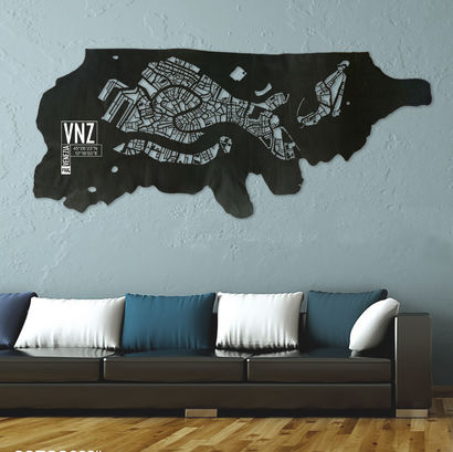 Venice leather map - a Art Design Artowrk by Frank&Frank