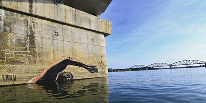 I swim upstream for the art and culture - a Urban Art Artowrk by Andrej Josifovski