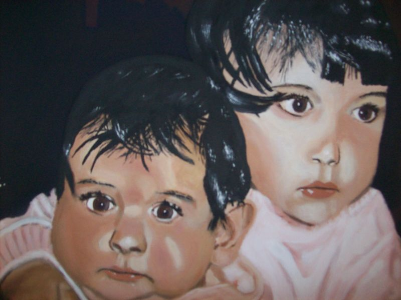 2 Kinder - a Paint by Oscar Campello