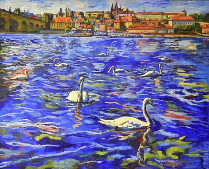 Swans  - A Paint Artwork by Irena Prochazkova