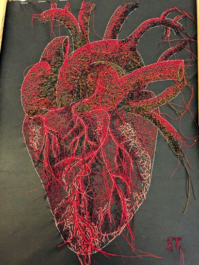 The Stitched Human Heart - A Paint Artwork by Silvia Perramon Rubio