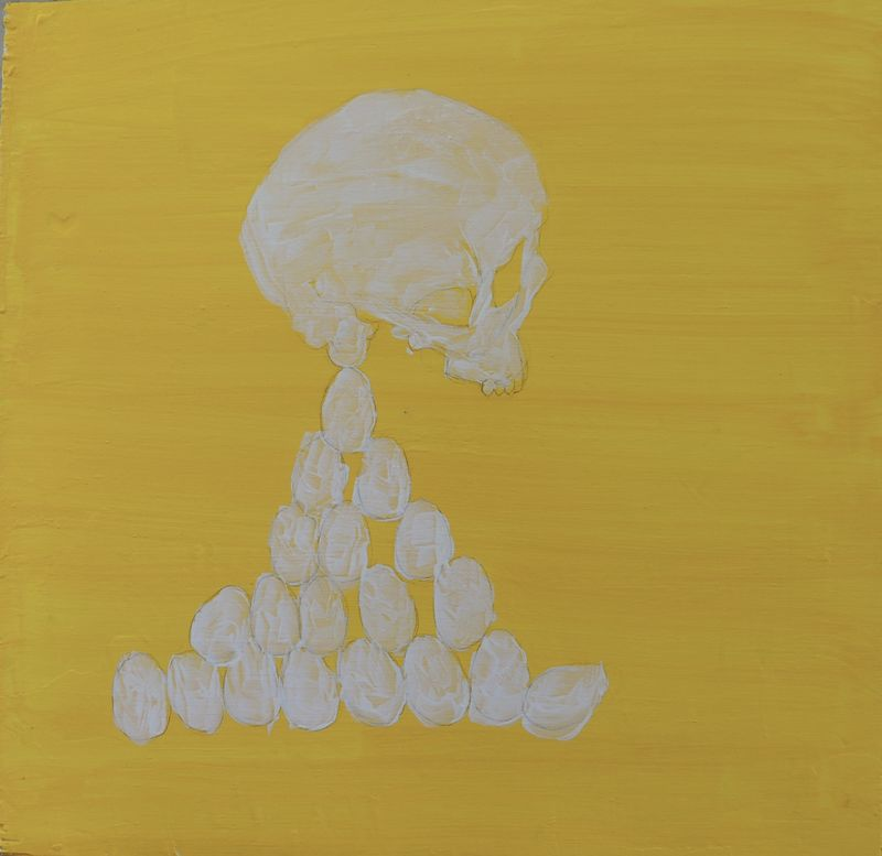 Requiem in yello. Skull and eggs) - a Paint by Anders Tranmark