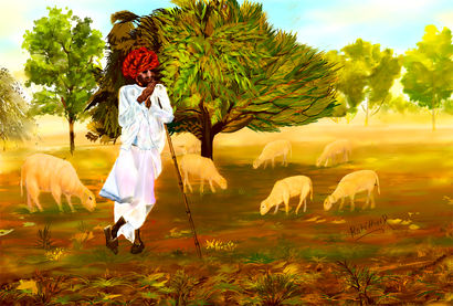 Nomadic Shepherd - a Digital Graphics Artowrk by Rekha Rotithor