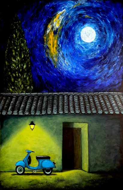 Vespa nigth - A Paint Artwork by Pablo Guillamon