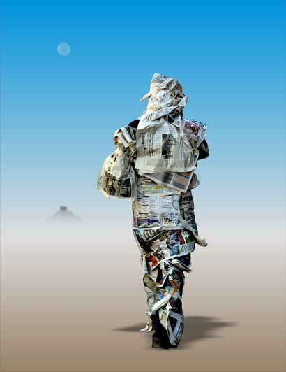 Name Series: Children of Grandmother Moon. Name: Paper man - a Digital Graphics Artowrk by Raúl López