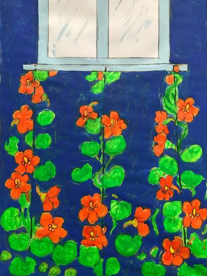 WINDOW WITH NASTURTIUM - A Paint Artwork by ELENA BUFTEA