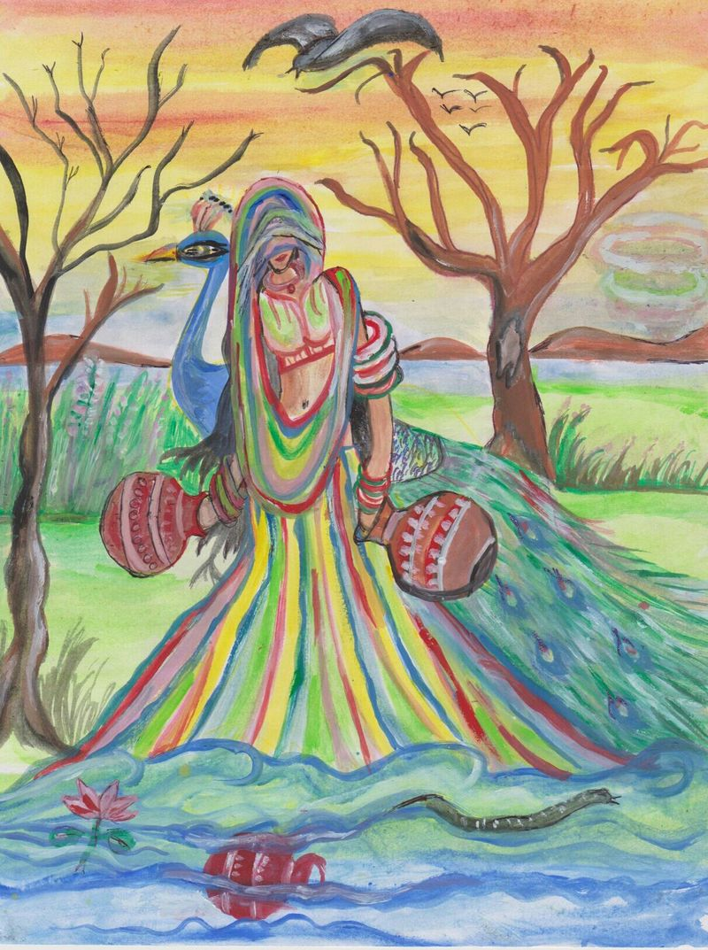 in village one day - a Paint by raipur