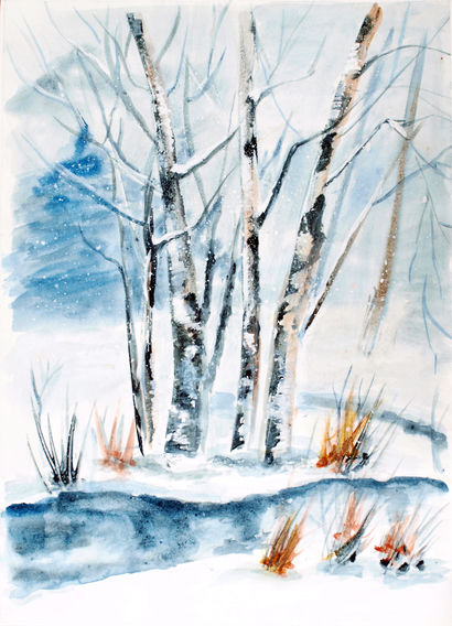 Winter forest  - A Paint Artwork by Victoria Moisseyeva
