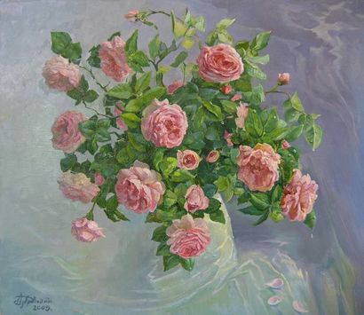 ROSES - Tea roses bouquet green leaves blue background Symbolic and allegorical art oil painting - a Paint Artowrk by Aleksandr  Dubrovskyy