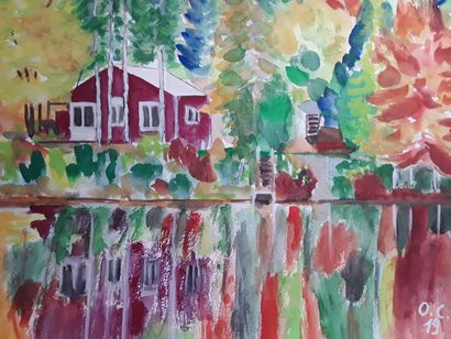 Rote Haus am Fluss - A Paint Artwork by Oscar Campello