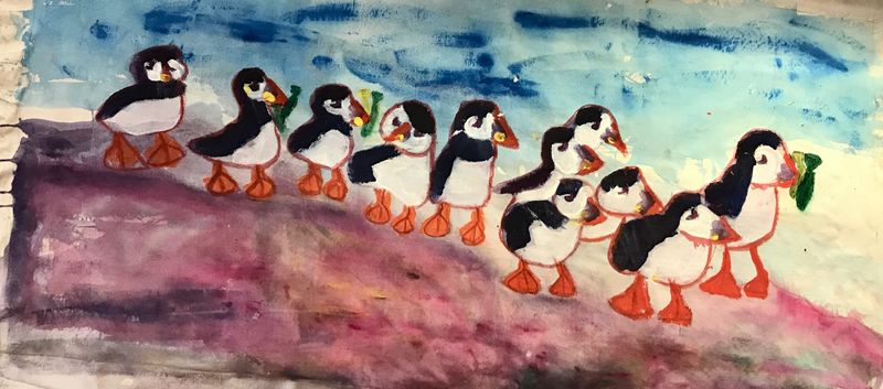 Puffins - a Paint by Christina Neumann