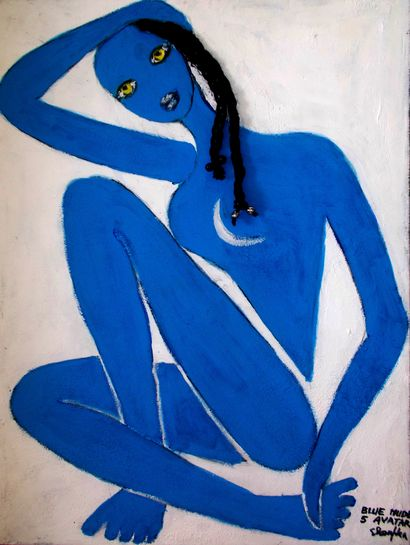 BLUE NUDE 5 - A Paint Artwork by ELENA BUFTEA