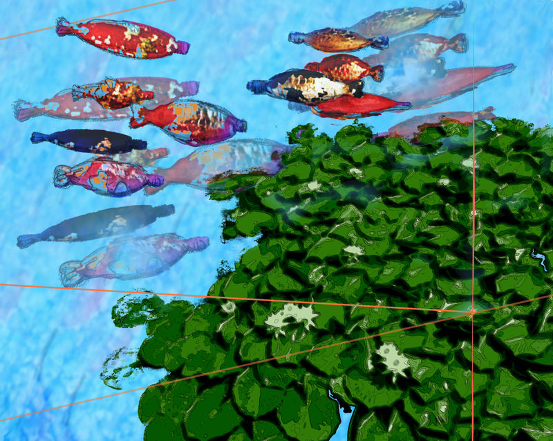 Plastic Fish in a Silk Pond - a Digital Graphics and Cartoon by Ruthie