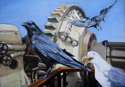 Seagull and crows - a Paint Artowrk by Dubois Helene