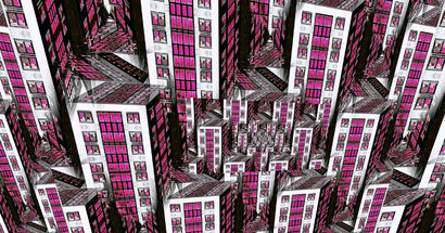 Pink Lighted City - A Digital Graphics Artwork by Greta Schnall